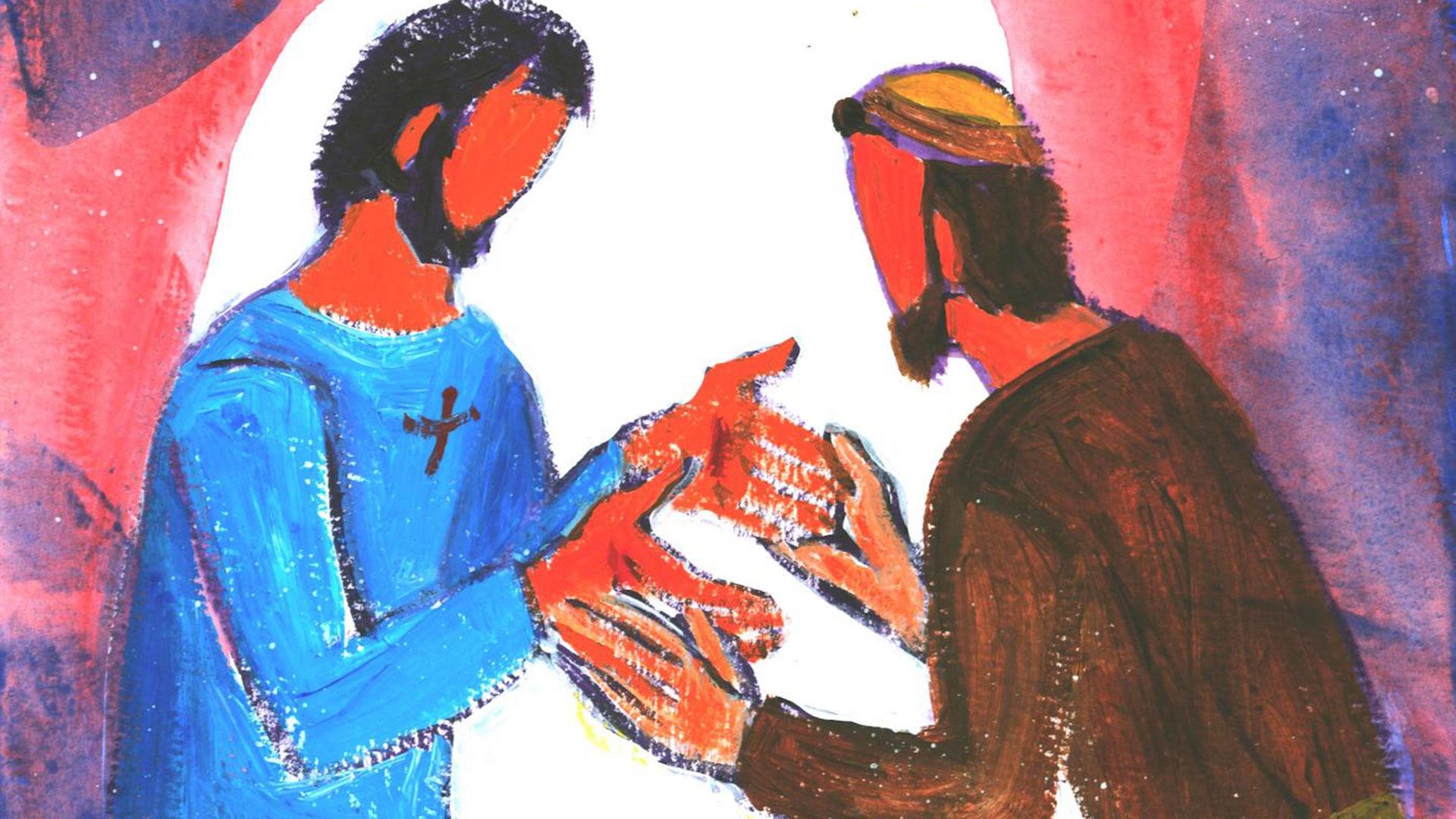 Jésus et l'apôtre Thomas après la résurrection