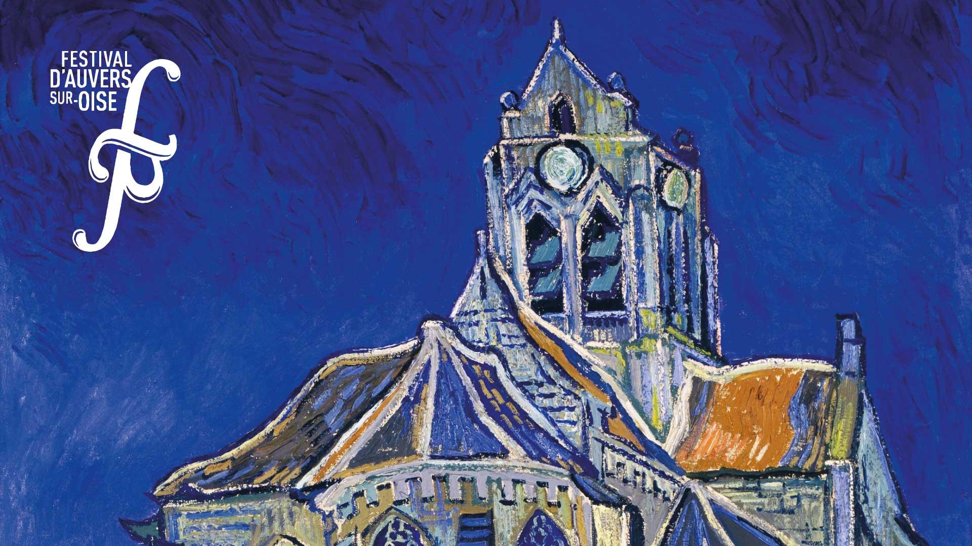Eglise d'Auvers sur Oise, détail du tableau de Van Gogh